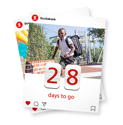 Scotiabank Instagram posts with back to school countdown and boy running