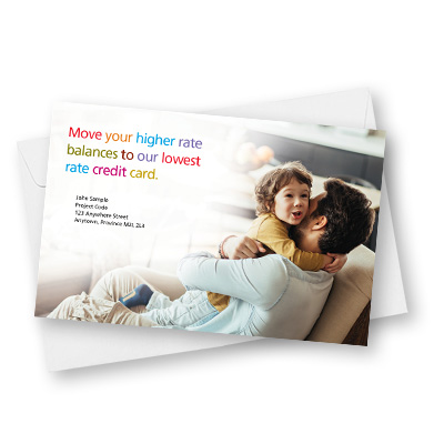 Back of direct mail piece for Scotiabank balance transfer offer
